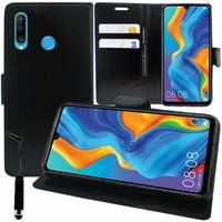 """Huawei Nova 4e 6.15"""" MAR-LX2/ MAR-AL00/ MAR-TL00 (non compatible Huawei Nova 4 6.4""""): Accessoire Etui portefeuille Livre Housse Coque Pochette support vidéo cuir PU + mini Stylet - NOIR"""