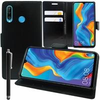 """Huawei Nova 4e 6.15"""" MAR-LX2/ MAR-AL00/ MAR-TL00 (non compatible Huawei Nova 4 6.4""""): Accessoire Etui portefeuille Livre Housse Coque Pochette support vidéo cuir PU + Stylet - NOIR"""