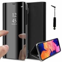 "Samsung Galaxy A10 6.2"" SM-A105F/ A105F/DS [Les Dimensions EXACTES du telephone: 155.6 x 75.6 x 7.9 mm]: Clear View Housse Etui Flip Folio Support Vidéo Effet Mirroir + mini Stylet - NOIR"