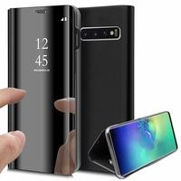"""Samsung Galaxy S10+/ S10 Plus 6.4"""" (non compatible Galaxy S10 5G 6.7""""/ S10 6.1""""/ S10e 5.8""""): Clear View Housse Etui Flip Folio Support Vidéo Effet Mirroir - NOIR"""