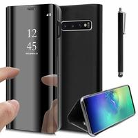 """Samsung Galaxy S10+/ S10 Plus 6.4"""" (non compatible Galaxy S10 5G 6.7""""/ S10 6.1""""/ S10e 5.8""""): Clear View Housse Etui Flip Folio Support Vidéo Effet Mirroir + Stylet - NOIR"""