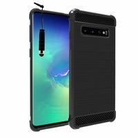 """Samsung Galaxy S10+/ S10 Plus 6.4"""" (non compatible Galaxy S10 5G 6.7""""/ S10 6.1""""/ S10e 5.8""""): Coque Housse Silicone Souple en Fibre de Carbone Brossé motif TPU Case + mini Stylet - NOIR"""