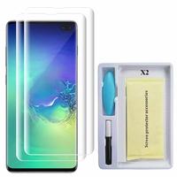 """Samsung Galaxy S10+/ S10 Plus 6.4"""" (non compatible Galaxy S10 5G 6.7""""/ S10 6.1""""/ S10e 5.8""""): Lot/ Pack 2 Films de Protection d'écran en Verre trempé Nano incurve?e 3D avec Liquide et Lampe UV"""