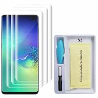 """Samsung Galaxy S10+/ S10 Plus 6.4"""" (non compatible Galaxy S10 5G 6.7""""/ S10 6.1""""/ S10e 5.8""""): Lot/ Pack 3 Films de Protection d'écran en Verre trempé Nano incurve?e 3D avec Liquide et Lampe UV"""