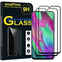"""Samsung Galaxy A40 5.9"""" SM-A405F/ SM-A405FN/ SM-A405F/DS/ SM-A405FN/DS [Les Dimensions EXACTES du telephone: 144.4 x 69.2 x 7.9 mm]: Lot / Pack de 2 Films de protection d'écran Verre Trempé"""