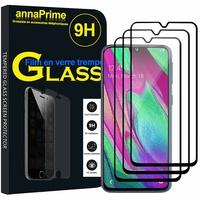 """Samsung Galaxy A40 5.9"""" SM-A405F/ SM-A405FN/ SM-A405F/DS/ SM-A405FN/DS [Les Dimensions EXACTES du telephone: 144.4 x 69.2 x 7.9 mm]: Lot / Pack de 3 Films de protection d'écran Verre Trempé"""