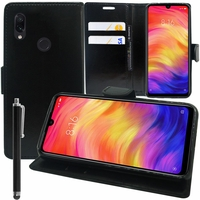 """Xiaomi Redmi Note 7S 6.3"""" M1901F71 [Les Dimensions EXACTES du telephone: 159.2 x 75.2 x 8.1 mm]: Accessoire Etui portefeuille Livre Housse Coque Pochette support vidéo cuir PU + Stylet - NOIR"""