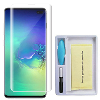 """Samsung Galaxy S10+/ S10 Plus 6.4"""" (non compatible Galaxy S10 5G 6.7""""/ S10 6.1""""/ S10e 5.8""""): 1 Film de Protection d'écran en Verre trempé Nano incurve?e 3D avec Liquide et Lampe UV"""