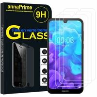 """Huawei Y5 (2019) 5.71"""" AMN-LX1/ AMN-LX2/ AMN-LX3/ AMN-LX9 [Les Dimensions EXACTES du telephone: 147.1 x 70.8 x 8.5 mm]: Lot / Pack de 3 Films de protection d'écran Verre Trempé"""