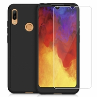 "Huawei Enjoy 9E 6.09"" MRD-AL00 MRD-TL00 (non compatible Huawei Enjoy 9 6.26""/ Enjoy 9s 6.21""/ Enjoy 9 Plus 6.5""): Coque de protection intégrale 360° Avant Et Arrière Ultra Mince Ultra Léger avec Verre Trempé pour l'Ecran - NOIR"