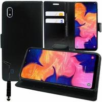 """Samsung Galaxy A10 6.2"""" SM-A105F/ A105F/DS [Les Dimensions EXACTES du telephone: 155.6 x 75.6 x 7.9 mm]: Accessoire Etui portefeuille Livre Housse Coque Pochette support vidéo cuir PU + mini Stylet - NOIR"""