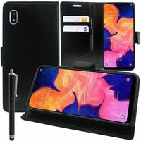 """Samsung Galaxy A10 6.2"""" SM-A105F/ A105F/DS [Les Dimensions EXACTES du telephone: 155.6 x 75.6 x 7.9 mm]: Accessoire Etui portefeuille Livre Housse Coque Pochette support vidéo cuir PU + Stylet - NOIR"""