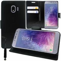 """Samsung Galaxy J4 (2018) 5.5"""" J400F/DS J400G/DS (non compatible Galaxy J4 Core 6.0""""/ Galaxy J4+/ J4 Plus 6.0""""): Accessoire Etui portefeuille Livre Housse Coque Pochette support vidéo cuir PU + mini Stylet - NOIR"""