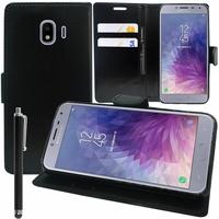 """Samsung Galaxy J4 (2018) 5.5"""" J400F/DS J400G/DS (non compatible Galaxy J4 Core 6.0""""/ Galaxy J4+/ J4 Plus 6.0""""): Accessoire Etui portefeuille Livre Housse Coque Pochette support vidéo cuir PU + Stylet - NOIR"""