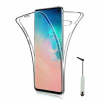 """Samsung Galaxy S10 6.1"""" (non compatible Galaxy S10 5G 6.7""""/ S10+ 6.4""""/ S10e 5.8""""): Coque Housse Silicone Gel TRANSPARENTE ultra mince 360° protection intégrale Avant et Arrière + mini Stylet - TRANSPARENT"""