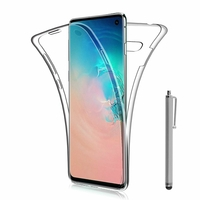 "Samsung Galaxy S10 6.1"" (non compatible Galaxy S10 5G 6.7""/ S10+ 6.4""/ S10e 5.8""): Coque Housse Silicone Gel TRANSPARENTE ultra mince 360° protection intégrale Avant et Arrière + Stylet - TRANSPARENT"