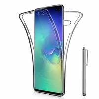 """Samsung Galaxy S10+/ S10 Plus 6.4"""" (non compatible Galaxy S10 5G 6.7""""/ S10 6.1""""/ S10e 5.8""""): Coque Housse Silicone Gel TRANSPARENTE ultra mince 360° protection intégrale Avant et Arrière + Stylet - TRANSPARENT"""