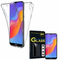 """Huawei Honor Play 8A 6.09"""" JAT-AL00 JAT-TL00: Coque Housse Silicone Gel TRANSPARENTE ultra mince 360° protection intégrale Avant et Arrière - TRANSPARENT + 1 Film de protection d'écran Verre Trempé"""
