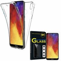 """Huawei Y6 Pro (2019) 6.09"""" MRD-LX2: Coque Housse Silicone Gel TRANSPARENTE ultra mince 360° protection intégrale Avant et Arrière - TRANSPARENT + 1 Film de protection d'écran Verre Trempé"""