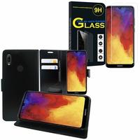 """Huawei Y6 Pro (2019) 6.09"""" MRD-LX2: Etui Coque Housse Pochette Accessoires portefeuille support video cuir PU - NOIR + 1 Film de protection d'écran Verre Trempé"""