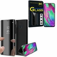 """Samsung Galaxy A40 5.9"""" SM-A405F/ SM-A405FN/ SM-A405F/DS/ SM-A405FN/DS: Clear View Housse Etui Flip Folio Support Vidéo Effet Mirroir - NOIR + 1 Film de protection d'écran Verre Trempé"""