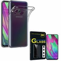 """Samsung Galaxy A40 5.9"""" SM-A405F/ SM-A405FN/ SM-A405F/DS/ SM-A405FN/DS: Etui Housse Pochette Accessoires Coque gel UltraSlim - TRANSPARENT + 1 Film de protection d'écran Verre Trempé"""