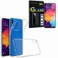 """Samsung Galaxy A50 SM-A505F 6.4"""": Etui Housse Pochette Accessoires Coque gel UltraSlim - TRANSPARENT + 1 Film de protection d'écran Verre Trempé"""