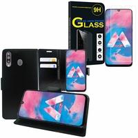 """Samsung Galaxy M30 SM-M305F 6.4"""": Etui Coque Housse Pochette Accessoires portefeuille support video cuir PU - NOIR + 1 Film de protection d'écran Verre Trempé"""