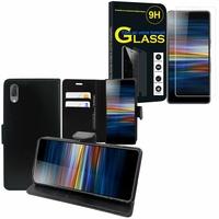 """Sony Xperia L3 5.7"""" I3312 I4312 I4332 I3322: Etui Coque Housse Pochette Accessoires portefeuille support video cuir PU - NOIR + 1 Film de protection d'écran Verre Trempé"""
