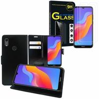 """Huawei Honor 8A Pro/ Honor 8A 6.09"""" JAT-L41 JAT-AL00 JAT-TL00: Etui Coque Housse Pochette Accessoires portefeuille support video cuir PU - NOIR + 2 Films de protection d'écran Verre Trempé"""