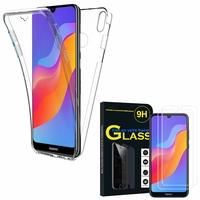 """Huawei Honor Play 8A 6.09"""" JAT-AL00 JAT-TL00: Coque Housse Silicone Gel TRANSPARENTE ultra mince 360° protection intégrale Avant et Arrière - TRANSPARENT + 2 Films de protection d'écran Verre Trempé"""