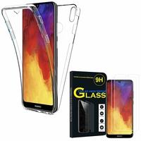 """Huawei Y6 Pro (2019) 6.09"""" MRD-LX2: Coque Housse Silicone Gel TRANSPARENTE ultra mince 360° protection intégrale Avant et Arrière - TRANSPARENT + 2 Films de protection d'écran Verre Trempé"""