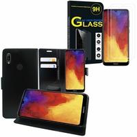 """Huawei Y6 Pro (2019) 6.09"""" MRD-LX2: Etui Coque Housse Pochette Accessoires portefeuille support video cuir PU - NOIR + 2 Films de protection d'écran Verre Trempé"""
