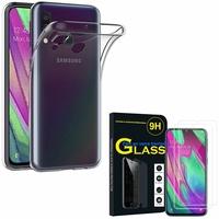 """Samsung Galaxy A40 5.9"""" SM-A405F/ SM-A405FN/ SM-A405F/DS/ SM-A405FN/DS: Etui Housse Pochette Accessoires Coque gel UltraSlim - TRANSPARENT + 2 Films de protection d'écran Verre Trempé"""