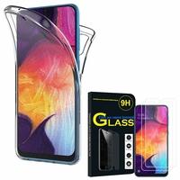 """Samsung Galaxy A50 SM-A505F 6.4"""": Coque Housse Silicone Gel TRANSPARENTE ultra mince 360° protection intégrale Avant et Arrière - TRANSPARENT + 2 Films de protection d'écran Verre Trempé"""