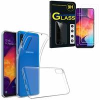 """Samsung Galaxy A50 SM-A505F 6.4"""": Etui Housse Pochette Accessoires Coque gel UltraSlim - TRANSPARENT + 2 Films de protection d'écran Verre Trempé"""