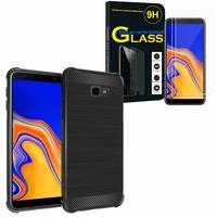 """Samsung Galaxy J4+/ J4 Plus (2018) 6.0"""": Coque Housse Silicone Souple en Fibre de Carbone Brossé motif TPU Case - NOIR + 2 Films de protection d'écran Verre Trempé"""