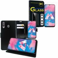 """Samsung Galaxy M30 SM-M305F 6.4"""": Etui Coque Housse Pochette Accessoires portefeuille support video cuir PU - NOIR + 2 Films de protection d'écran Verre Trempé"""