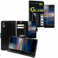 """Sony Xperia L3 5.7"""" I3312 I4312 I4332 I3322: Etui Coque Housse Pochette Accessoires portefeuille support video cuir PU - NOIR + 2 Films de protection d'écran Verre Trempé"""