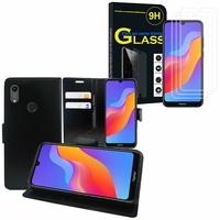 """Huawei Honor 8A Pro/ Honor 8A 6.09"""" JAT-L41 JAT-AL00 JAT-TL00: Etui Coque Housse Pochette Accessoires portefeuille support video cuir PU - NOIR + 3 Films de protection d'écran Verre Trempé"""