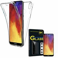 """Huawei Y6 (2019)/ Y6 Prime (2019) 6.09"""": Coque Housse Silicone Gel TRANSPARENTE ultra mince 360° protection intégrale Avant et Arrière - TRANSPARENT + 3 Films de protection d'écran Verre Trempé"""