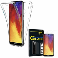 """Huawei Y6 Pro (2019) 6.09"""" MRD-LX2: Coque Housse Silicone Gel TRANSPARENTE ultra mince 360° protection intégrale Avant et Arrière - TRANSPARENT + 3 Films de protection d'écran Verre Trempé"""