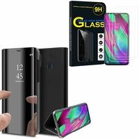"""Samsung Galaxy A40 5.9"""" SM-A405F/ SM-A405FN/ SM-A405F/DS/ SM-A405FN/DS: Clear View Housse Etui Flip Folio Support Vidéo Effet Mirroir - NOIR + 3 Films de protection d'écran Verre Trempé"""