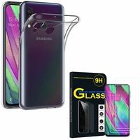 """Samsung Galaxy A40 5.9"""" SM-A405F/ SM-A405FN/ SM-A405F/DS/ SM-A405FN/DS: Etui Housse Pochette Accessoires Coque gel UltraSlim - TRANSPARENT + 3 Films de protection d'écran Verre Trempé"""
