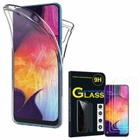 """Samsung Galaxy A50 SM-A505F 6.4"""": Coque Housse Silicone Gel TRANSPARENTE ultra mince 360° protection intégrale Avant et Arrière - TRANSPARENT + 3 Films de protection d'écran Verre Trempé"""