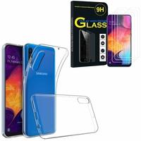"""Samsung Galaxy A50 SM-A505F 6.4"""": Etui Housse Pochette Accessoires Coque gel UltraSlim - TRANSPARENT + 3 Films de protection d'écran Verre Trempé"""