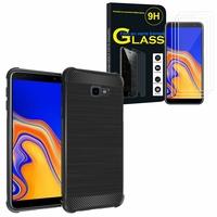 """Samsung Galaxy J4+/ J4 Plus (2018) 6.0"""": Coque Housse Silicone Souple en Fibre de Carbone Brossé motif TPU Case - NOIR + 3 Films de protection d'écran Verre Trempé"""