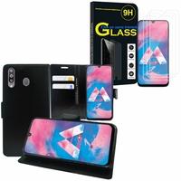 """Samsung Galaxy M30 SM-M305F 6.4"""": Etui Coque Housse Pochette Accessoires portefeuille support video cuir PU - NOIR + 3 Films de protection d'écran Verre Trempé"""
