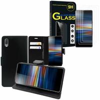 """Sony Xperia L3 5.7"""" I3312 I4312 I4332 I3322: Etui Coque Housse Pochette Accessoires portefeuille support video cuir PU - NOIR + 3 Films de protection d'écran Verre Trempé"""