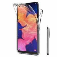"""Samsung Galaxy A10 6.2"""" SM-A105F/ A105F/DS [Les Dimensions EXACTES du telephone: 155.6 x 75.6 x 7.9 mm]: Coque Housse Silicone Gel TRANSPARENTE ultra mince 360° protection intégrale Avant et Arrière + Stylet - TRANSPARENT"""